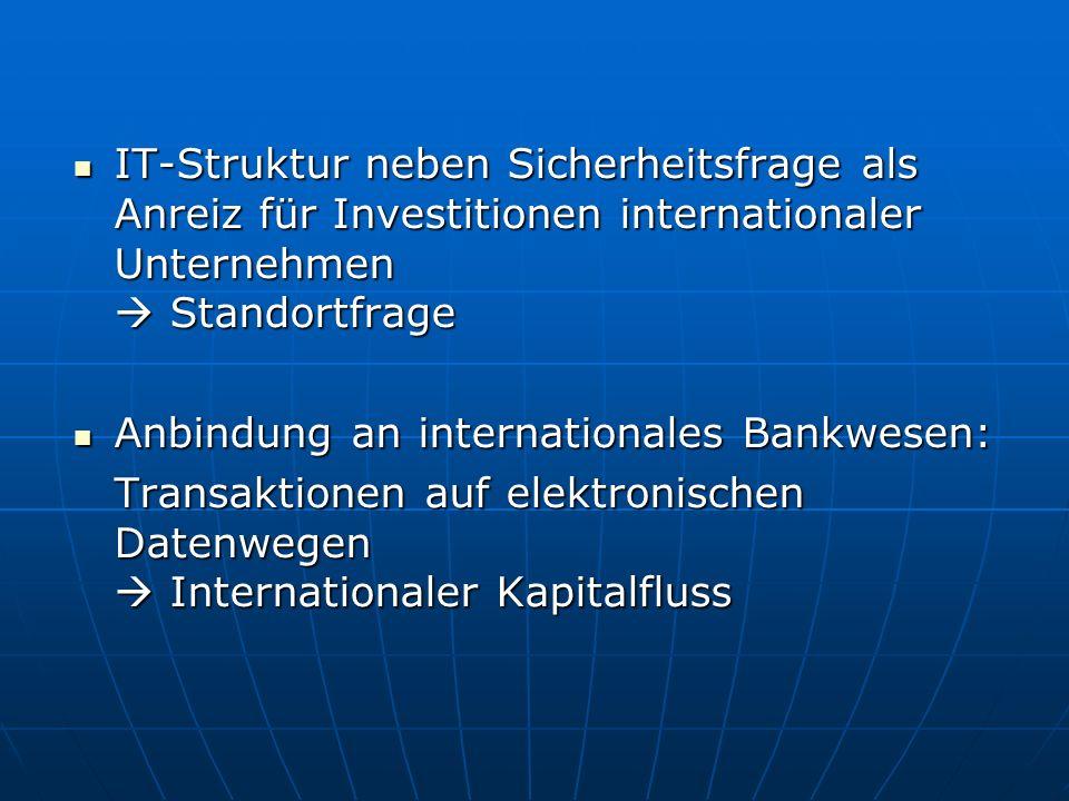 IT-Struktur neben Sicherheitsfrage als Anreiz für Investitionen internationaler Unternehmen Standortfrage IT-Struktur neben Sicherheitsfrage als Anrei