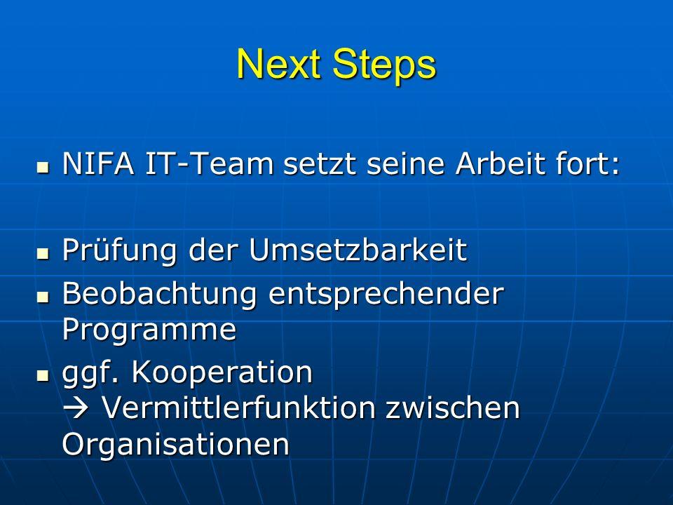 Next Steps NIFA IT-Team setzt seine Arbeit fort: NIFA IT-Team setzt seine Arbeit fort: Prüfung der Umsetzbarkeit Prüfung der Umsetzbarkeit Beobachtung