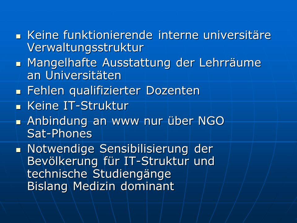 Ausstattung der anderen Universitäten mit IT-Struktur Ausstattung der anderen Universitäten mit IT-Struktur Parallele Schulung von Mitarbeitern, Studenten in Kabul Internationaler Studenten-/Praktikanten- austausch über ORGs wie AIESEC Internationaler Studenten-/Praktikanten- austausch über ORGs wie AIESEC Vernetzung der korrespondierenden Fachbereiche Wissensaustausch Vernetzung der korrespondierenden Fachbereiche Wissensaustausch Voraussetzung: Funktionierendes Telefonnetz