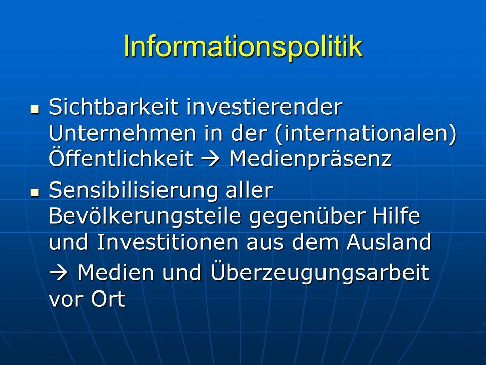 Informationspolitik Sichtbarkeit investierender Unternehmen in der (internationalen) Öffentlichkeit Medienpräsenz Sichtbarkeit investierender Unterneh