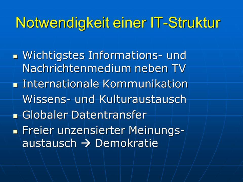 Notwendigkeit einer IT-Struktur Wichtigstes Informations- und Nachrichtenmedium neben TV Wichtigstes Informations- und Nachrichtenmedium neben TV Inte