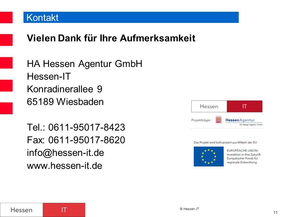 © Hessen-IT 11 Kontakt Vielen Dank für Ihre Aufmerksamkeit HA Hessen Agentur GmbH Hessen-IT Konradinerallee 9 65189 Wiesbaden Tel.: 0611-95017-8423 Fa