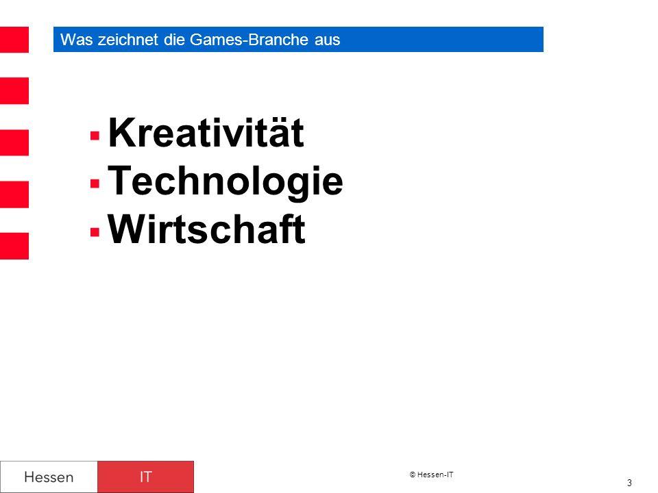© Hessen-IT 4 Games-Branche – Zahlen und Trends Umsätze in Deutschland - Wachstum zu verzeichnen - Umsatz mit Software und Konsolen 2011: 2,7 Milliarden Euro 1 Trends: - Konsolen mit Bewegungssteuerung - Online-, Bowser und Social-Network-Spiele - Mobiles Spielen (Smartphones, mobile Konsolen, Tablets usw.) - Stereoskopisches 3D - Serious Games Mehrzahl der Spiele sind jugendfrei - Prüfergebnisse und Alterskennzeichnung 2 - 39,1% Freigegeben ohne Altersbeschränkung - 17,3% Freigegeben ab sechs Jahren - 22,4% Freigegeben ab zwölf Jahren - 14,5% Freigegeben ab sechzehn Jahren - 6,2% Keine Jugendfreigabe - Bei 0,6% wurde eine Kennzeichnung verweigert, weil die Spielinhalte nach der Auffassung der Gutachter die Kriterien der Indizierung erfüllten 1 BIKOM 2012 2 Unterhaltungssoftware-Selbstkontrolle (USK) 2012