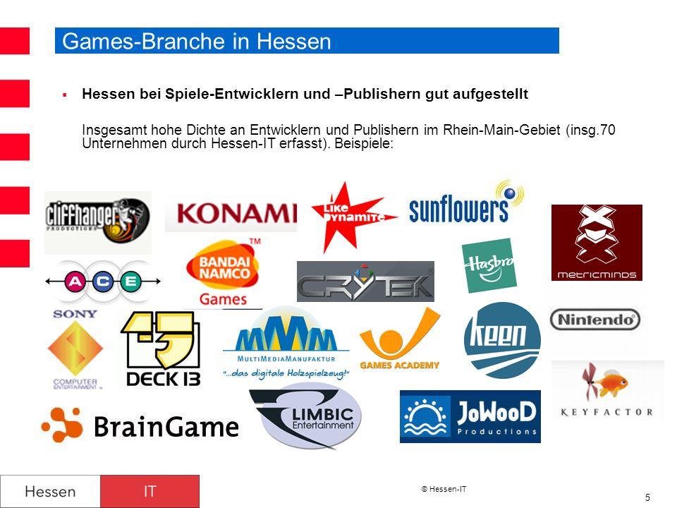 © Hessen-IT 5 Games-Branche in Hessen Hessen bei Spiele-Entwicklern und –Publishern gut aufgestellt Insgesamt hohe Dichte an Entwicklern und Publisher