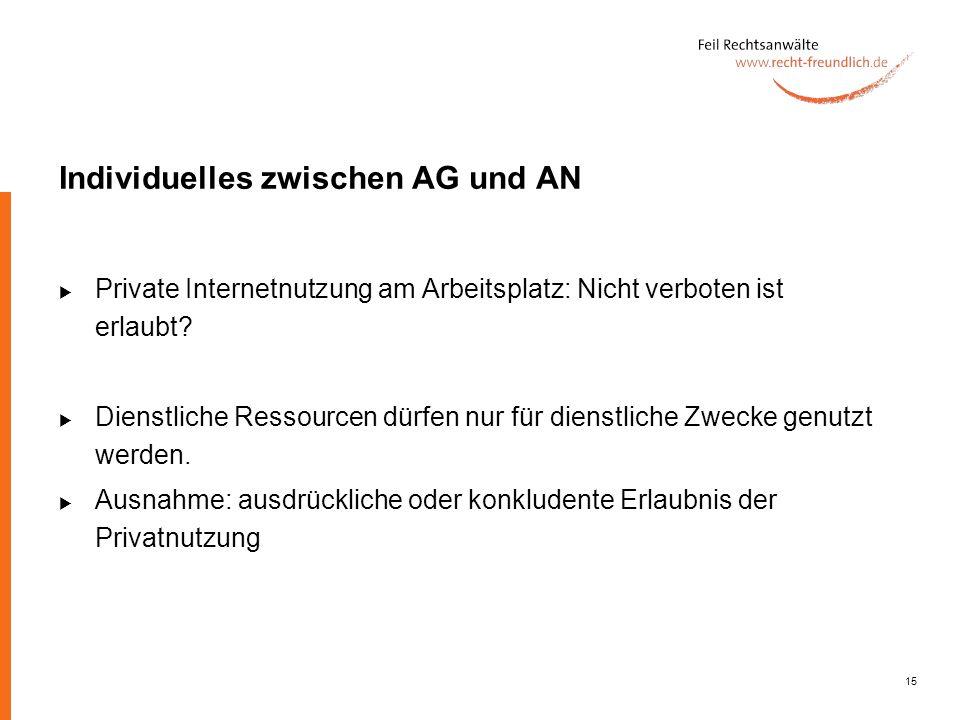15 Individuelles zwischen AG und AN Private Internetnutzung am Arbeitsplatz: Nicht verboten ist erlaubt? Dienstliche Ressourcen dürfen nur für dienstl
