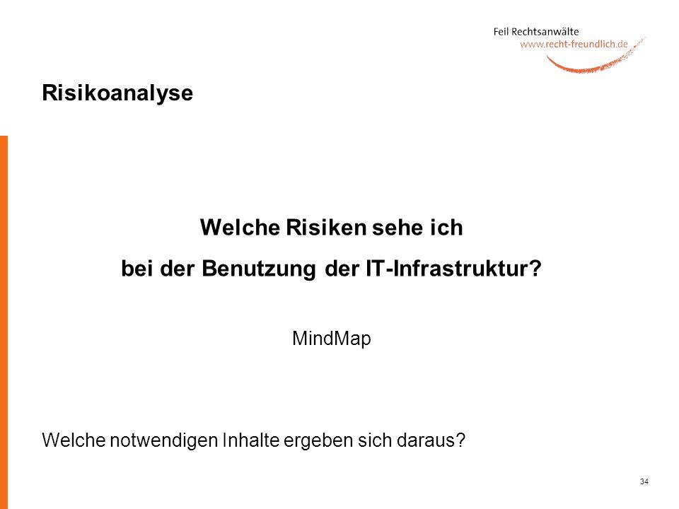 34 Risikoanalyse Welche Risiken sehe ich bei der Benutzung der IT-Infrastruktur? MindMap Welche notwendigen Inhalte ergeben sich daraus?