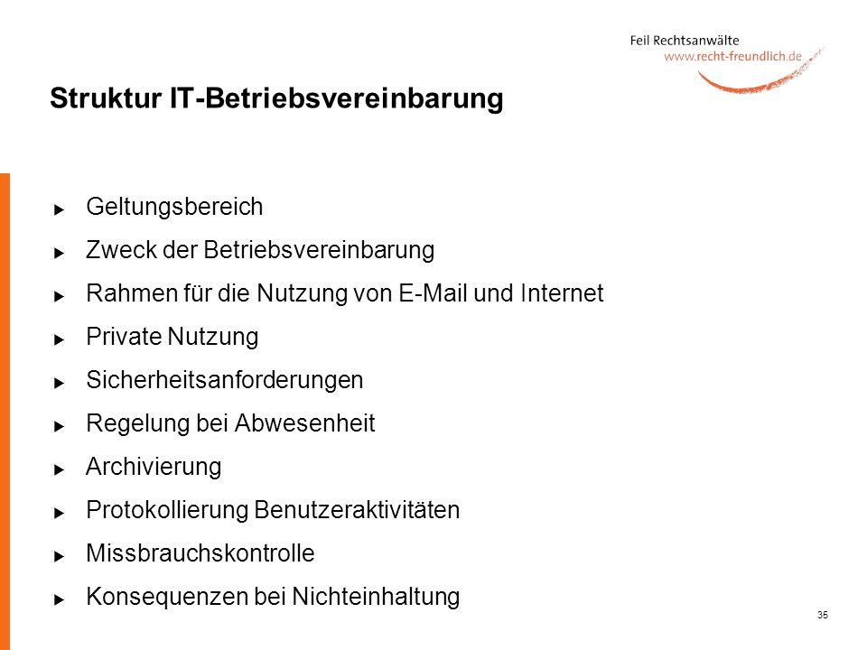 35 Struktur IT-Betriebsvereinbarung Geltungsbereich Zweck der Betriebsvereinbarung Rahmen für die Nutzung von E-Mail und Internet Private Nutzung Sich