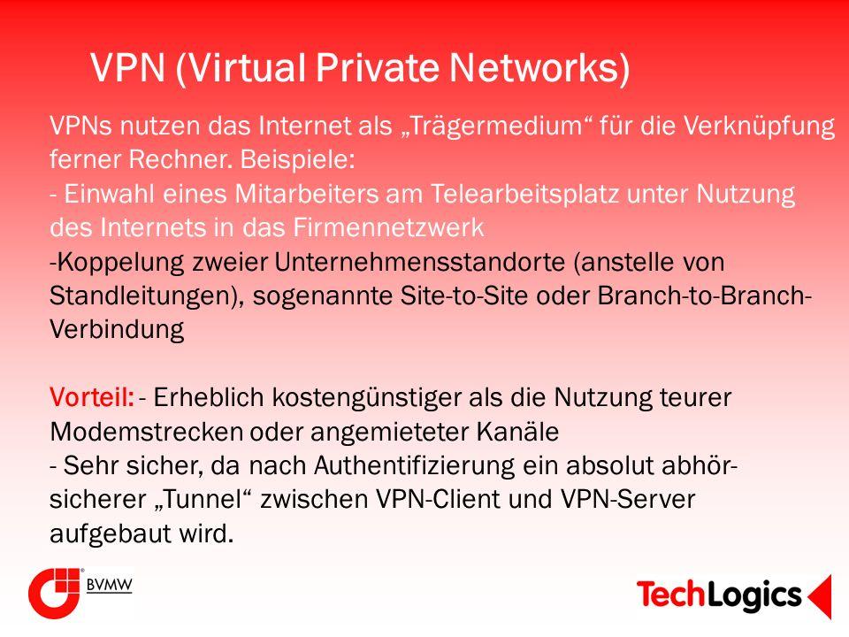 VPN (Virtual Private Networks) VPNs nutzen das Internet als Trägermedium für die Verknüpfung ferner Rechner. Beispiele: - Einwahl eines Mitarbeiters a