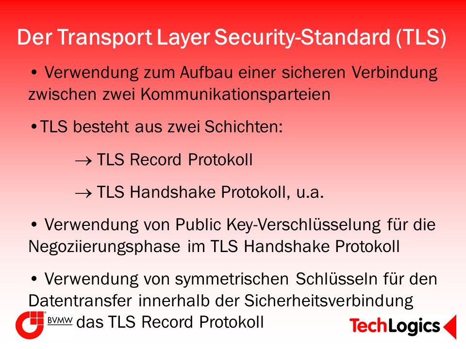 Der Transport Layer Security-Standard (TLS) Verwendung zum Aufbau einer sicheren Verbindung zwischen zwei Kommunikationsparteien TLS besteht aus zwei