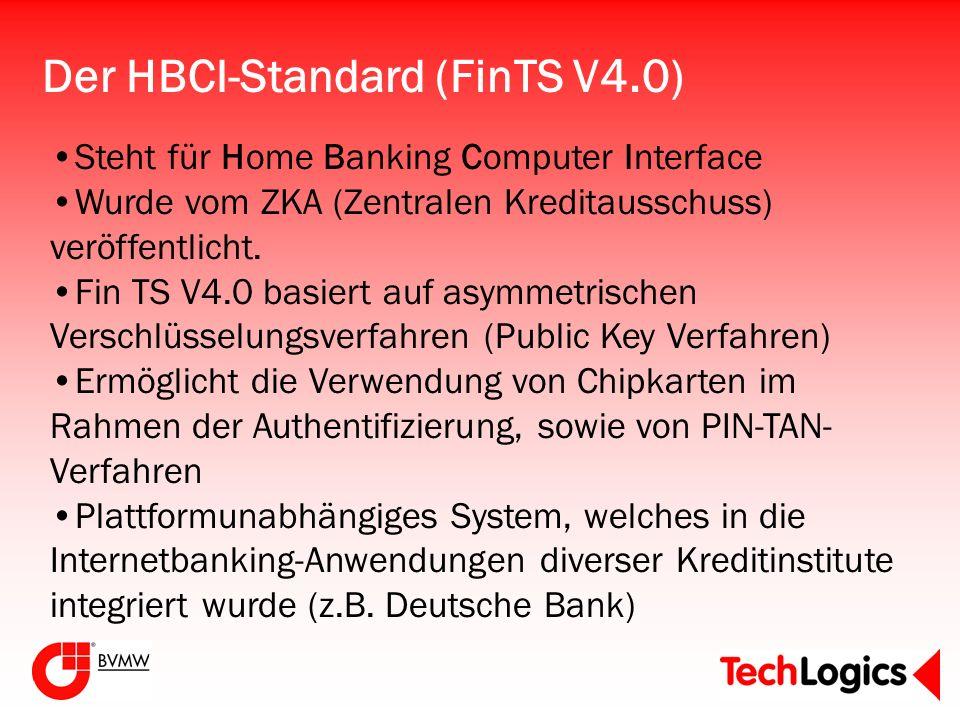Der HBCI-Standard (FinTS V4.0) Steht für Home Banking Computer Interface Wurde vom ZKA (Zentralen Kreditausschuss) veröffentlicht. Fin TS V4.0 basiert