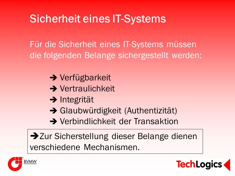 Für die Sicherheit eines IT-Systems müssen die folgenden Belange sichergestellt werden: Zur Sicherstellung dieser Belange dienen verschiedene Mechanis