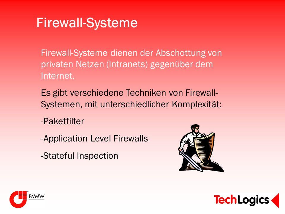 Firewall-Systeme Firewall-Systeme dienen der Abschottung von privaten Netzen (Intranets) gegenüber dem Internet. Es gibt verschiedene Techniken von Fi