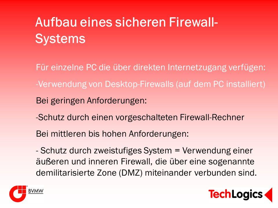 Aufbau eines sicheren Firewall- Systems Für einzelne PC die über direkten Internetzugang verfügen: -Verwendung von Desktop-Firewalls (auf dem PC insta