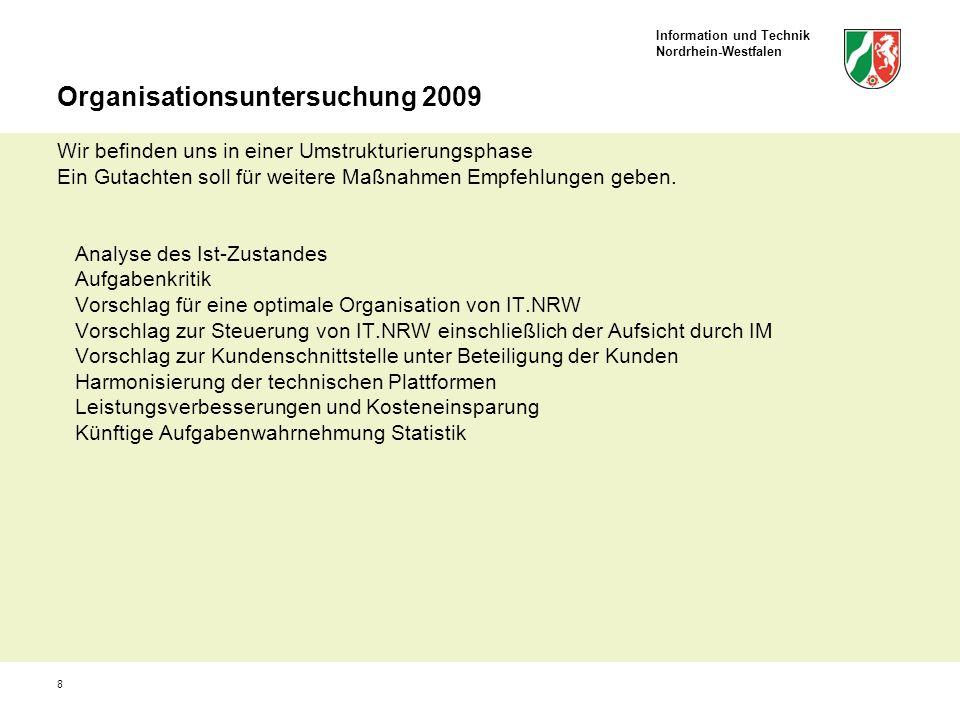 Information und Technik Nordrhein-Westfalen 8 Organisationsuntersuchung 2009 Wir befinden uns in einer Umstrukturierungsphase Ein Gutachten soll für w