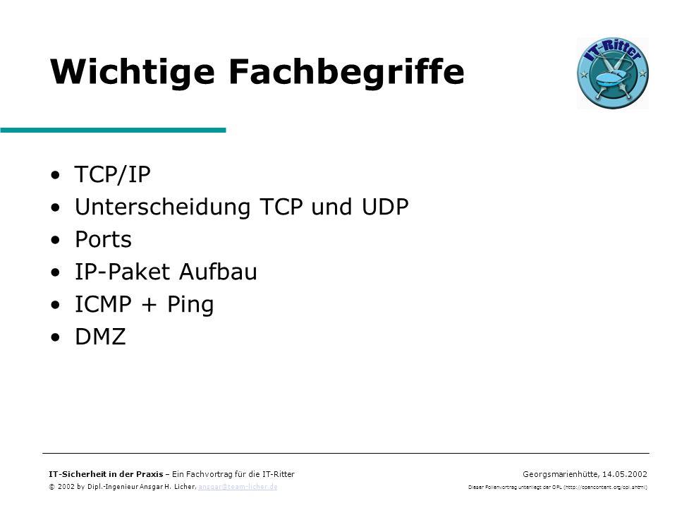 IT-Sicherheit in der Praxis – Ein Fachvortrag für die IT-RitterGeorgsmarienhütte, 14.05.2002 © 2002 by Dipl.-Ingenieur Ansgar H. Licher, ansgar@team-l