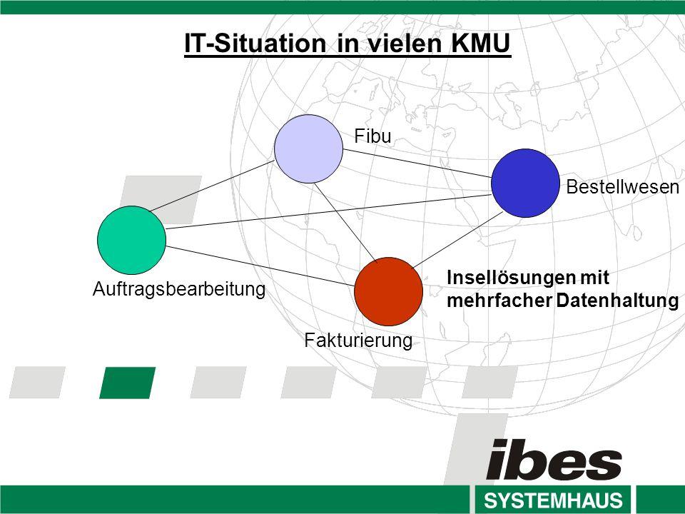 IT-Situation in vielen KMU Insellösungen mit mehrfacher Datenhaltung Fibu Bestellwesen Auftragsbearbeitung Fakturierung