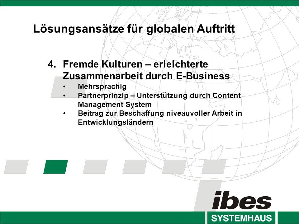 4.Fremde Kulturen – erleichterte Zusammenarbeit durch E-Business Mehrsprachig Partnerprinzip – Unterstützung durch Content Management System Beitrag zur Beschaffung niveauvoller Arbeit in Entwicklungsländern Lösungsansätze für globalen Auftritt