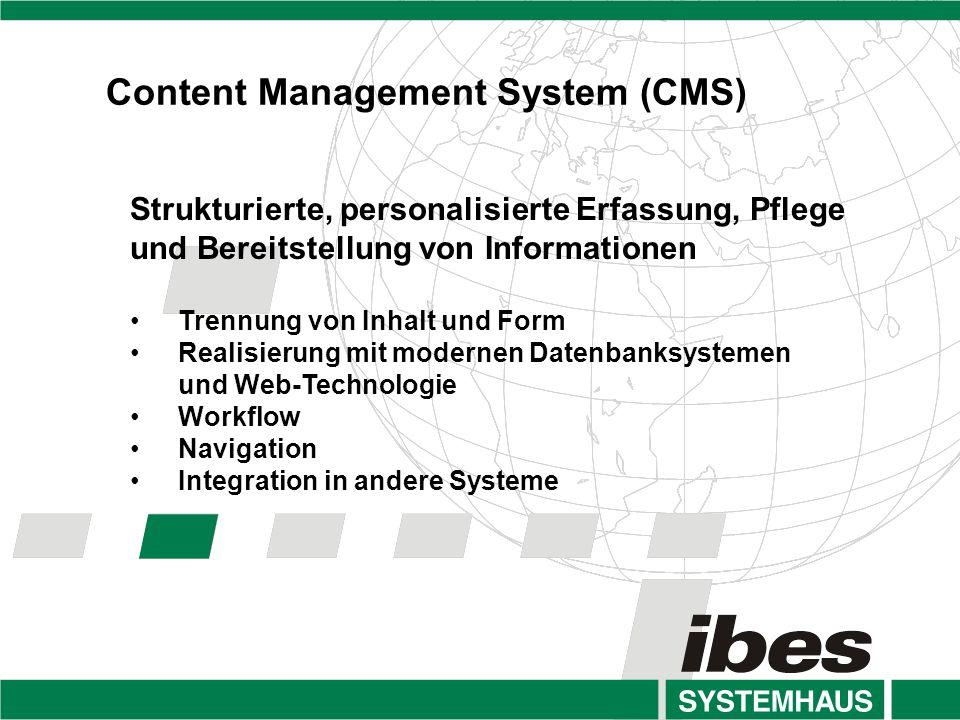Strukturierte, personalisierte Erfassung, Pflege und Bereitstellung von Informationen Trennung von Inhalt und Form Realisierung mit modernen Datenbanksystemen und Web-Technologie Workflow Navigation Integration in andere Systeme Content Management System (CMS)