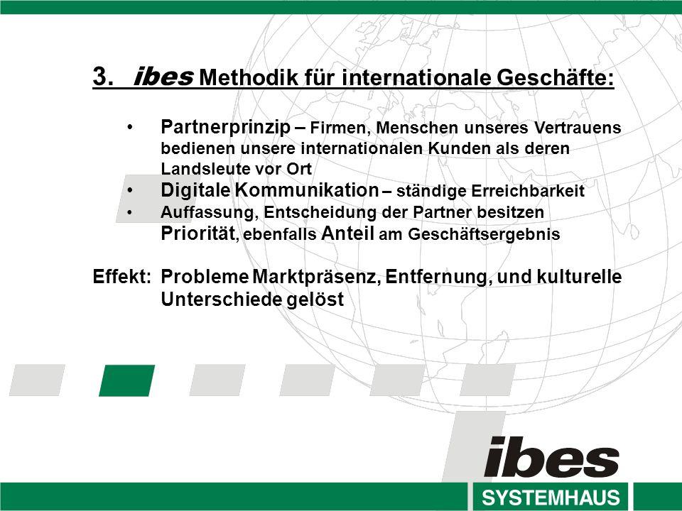 3. ibes Methodik für internationale Geschäfte: Partnerprinzip – Firmen, Menschen unseres Vertrauens bedienen unsere internationalen Kunden als deren L