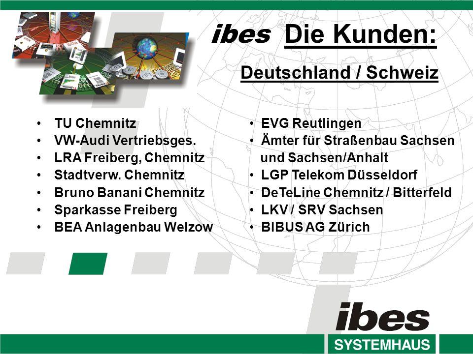 ibes Die Kunden: Deutschland / Schweiz TU Chemnitz VW-Audi Vertriebsges.