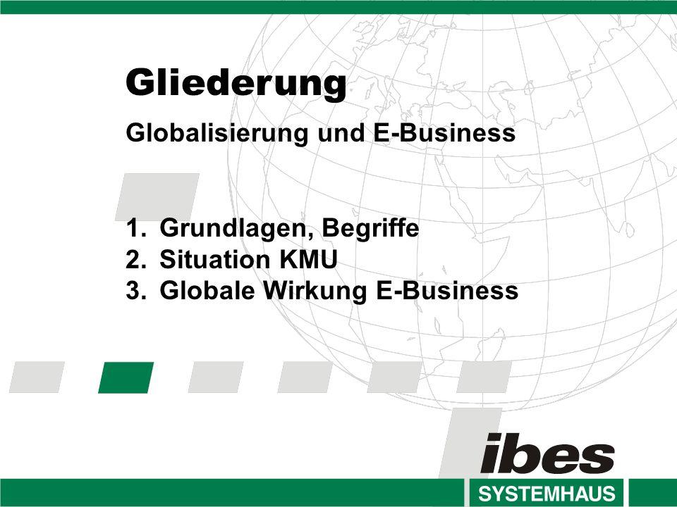 Gliederung Globalisierung und E-Business 1.Grundlagen, Begriffe 2.Situation KMU 3.Globale Wirkung E-Business