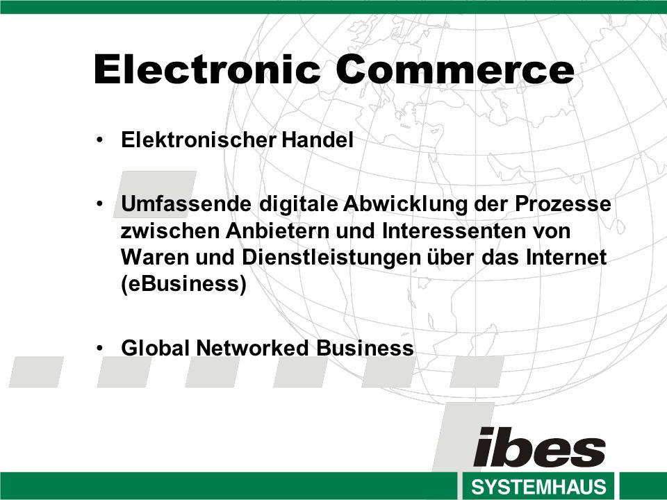 Electronic Commerce Elektronischer Handel Umfassende digitale Abwicklung der Prozesse zwischen Anbietern und Interessenten von Waren und Dienstleistungen über das Internet (eBusiness) Global Networked Business