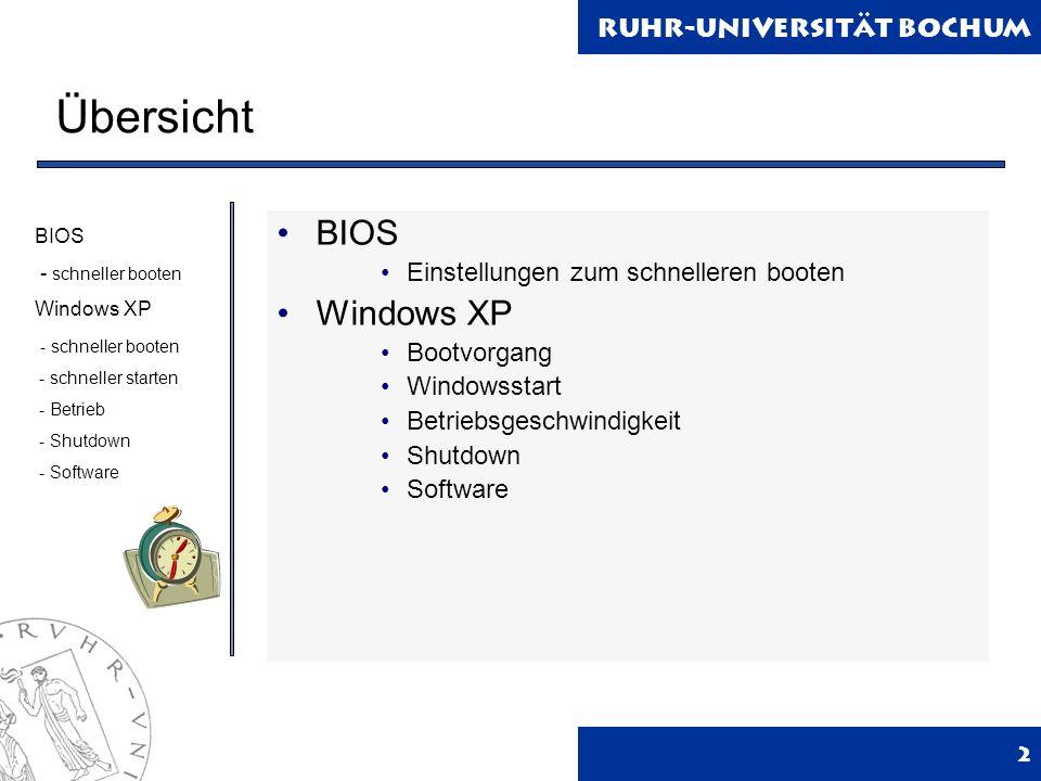 Ruhr-Universität Bochum 2 Übersicht BIOS Einstellungen zum schnelleren booten Windows XP Bootvorgang Windowsstart Betriebsgeschwindigkeit Shutdown Software BIOS - schneller booten Windows XP - schneller booten - schneller starten - Betrieb - Shutdown - Software