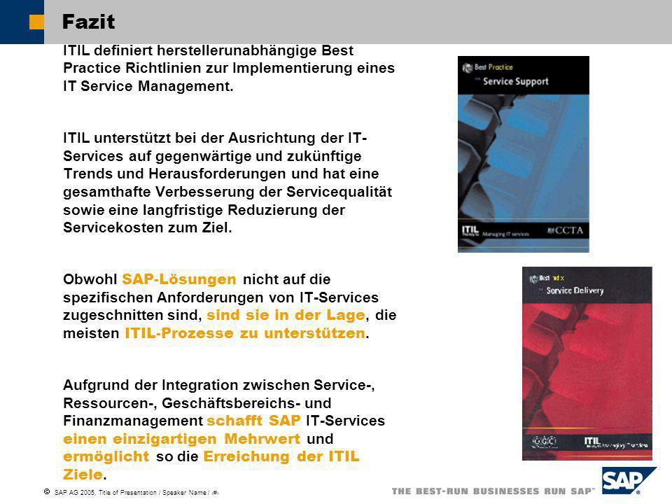 SAP AG 2005, Title of Presentation / Speaker Name / 21 Fazit ITIL definiert herstellerunabhängige Best Practice Richtlinien zur Implementierung eines