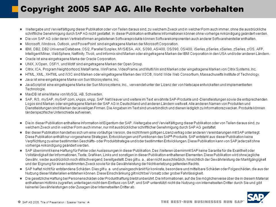 SAP AG 2005, Title of Presentation / Speaker Name / 23 Copyright 2005 SAP AG. Alle Rechte vorbehalten Weitergabe und Vervielfältigung dieser Publikati
