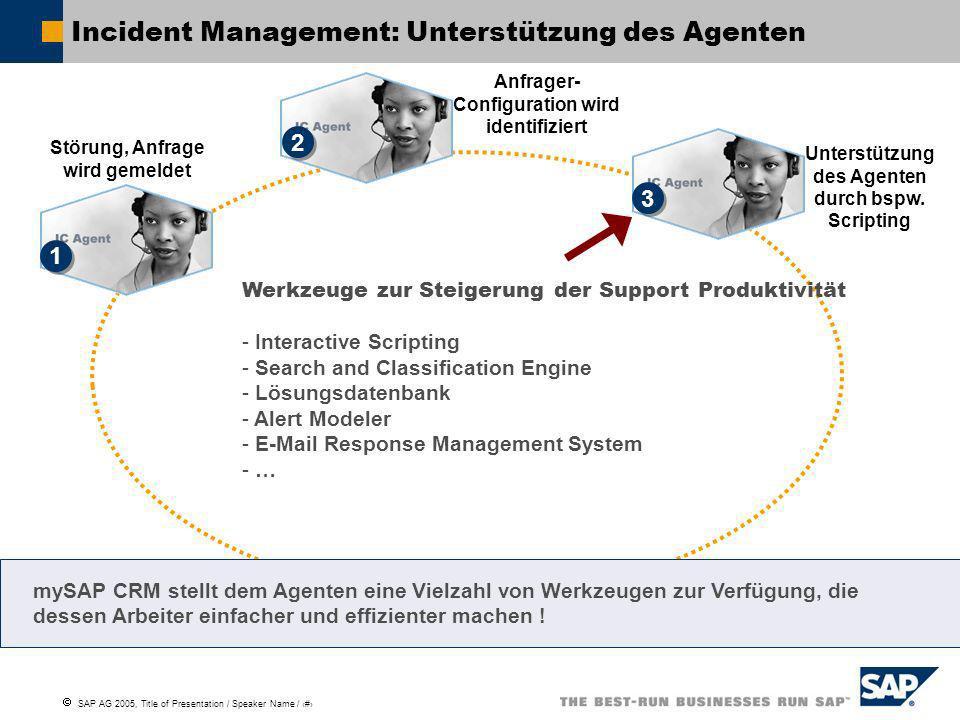 SAP AG 2005, Title of Presentation / Speaker Name / 10 Störung, Anfrage wird gemeldet Incident Management: Incidents / Service Tickets 1 1 Anlegen eines Incidents / Service Tickets Zur weiteren Bearbeitung einer Anfrage wird diese als Incident / Service Ticket angelegt.