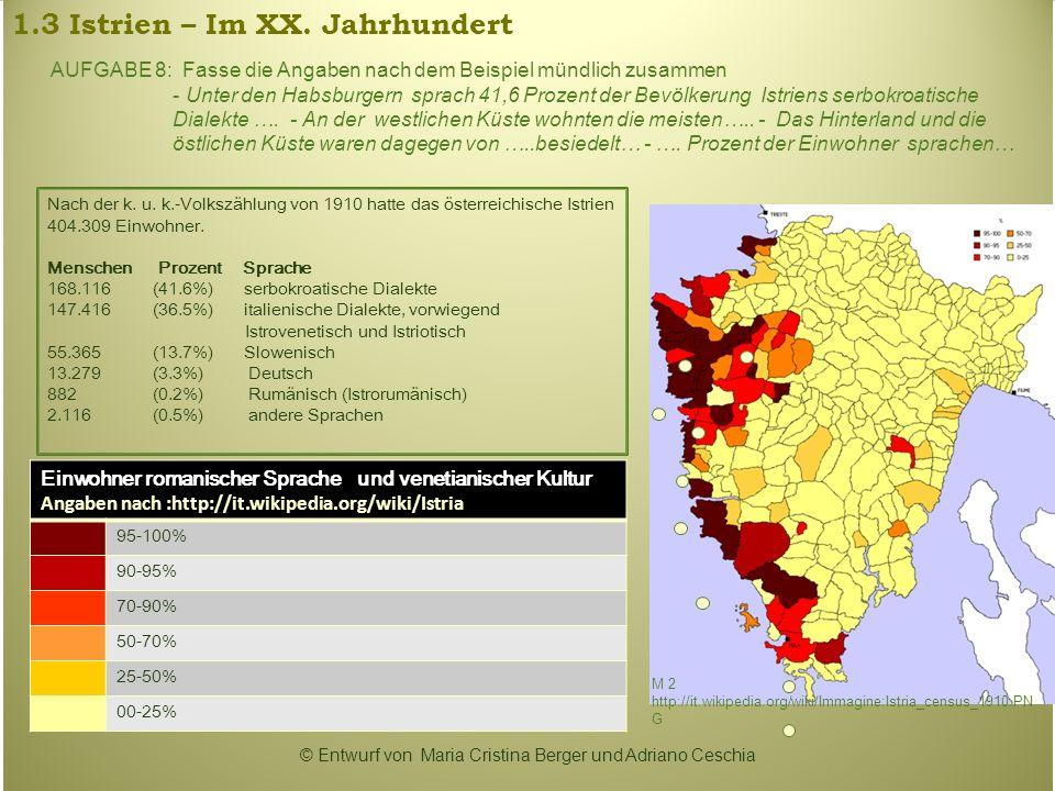 1.3 Istrien – Im XX. Jahrhundert Nach der k. u. k.-Volkszählung von 1910 hatte das österreichische Istrien 404.309 Einwohner. Menschen Prozent Sprache