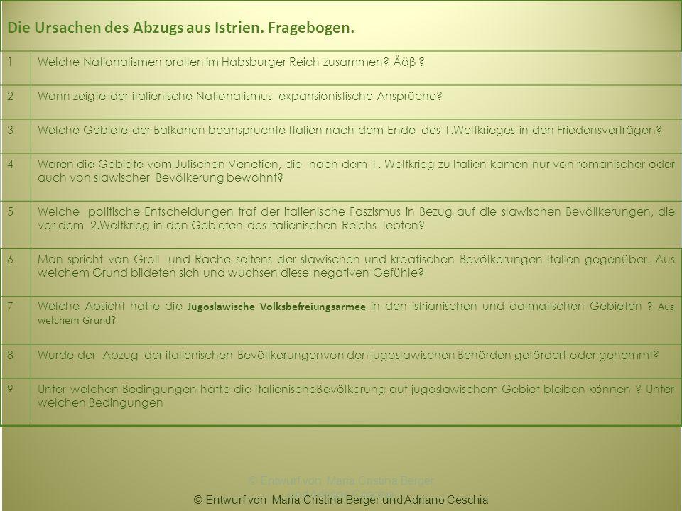 Die Ursachen des Abzugs aus Istrien. Fragebogen. 1Welche Nationalismen prallen im Habsburger Reich zusammen? Äöβ ? 2Wann zeigte der italienische Natio