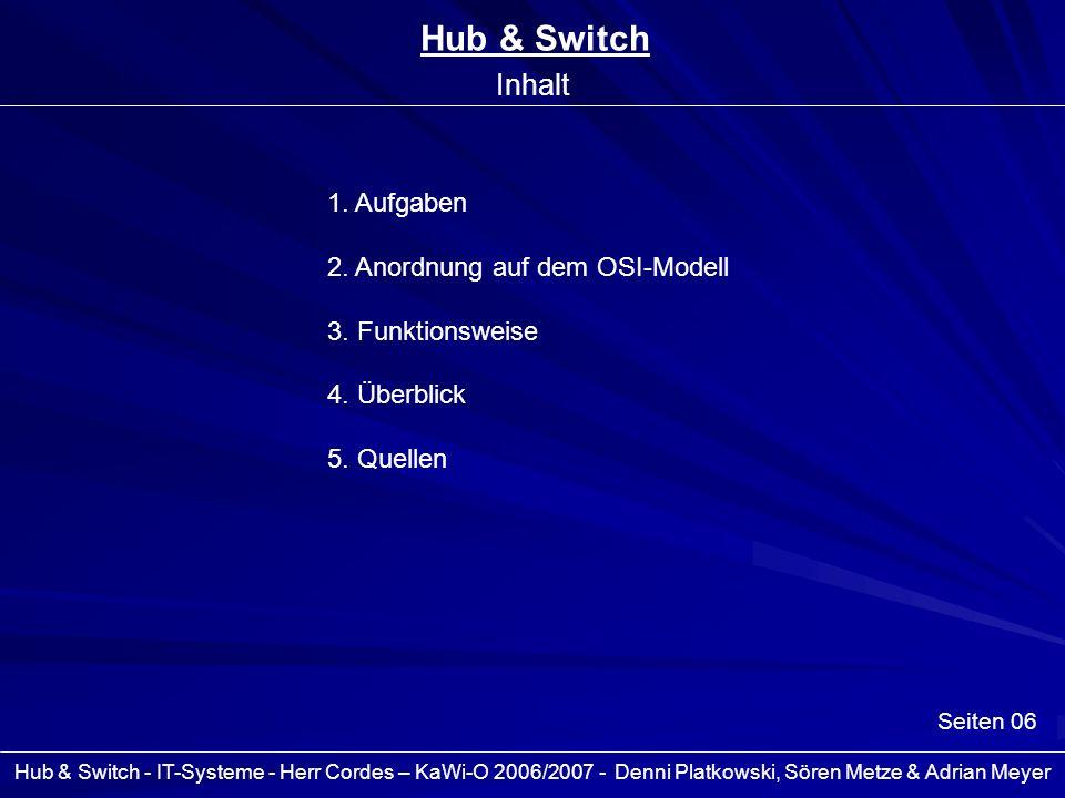 Hub & Switch - IT-Systeme - Herr Cordes – KaWi-O 2006/2007 - Denni Platkowski, Sören Metze & Adrian Meyer Seiten 06 Hub & Switch Inhalt 1. Aufgaben 2.