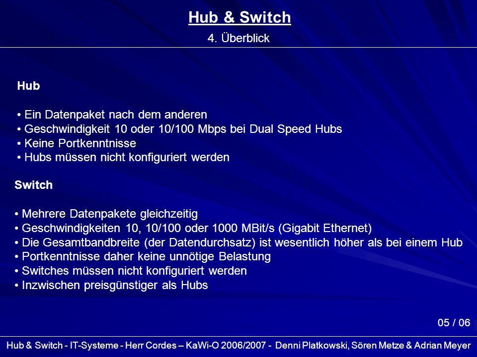 Hub & Switch - IT-Systeme - Herr Cordes – KaWi-O 2006/2007 - Denni Platkowski, Sören Metze & Adrian Meyer 05 / 06 Hub & Switch 4. Überblick Switch Meh