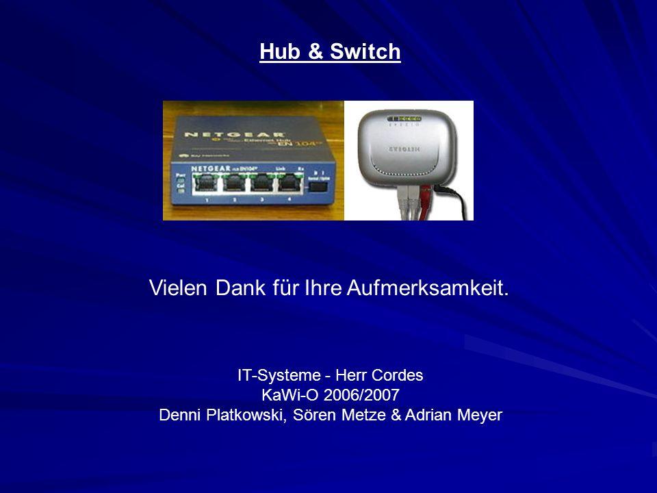 Hub & Switch IT-Systeme - Herr Cordes KaWi-O 2006/2007 Denni Platkowski, Sören Metze & Adrian Meyer Vielen Dank für Ihre Aufmerksamkeit.