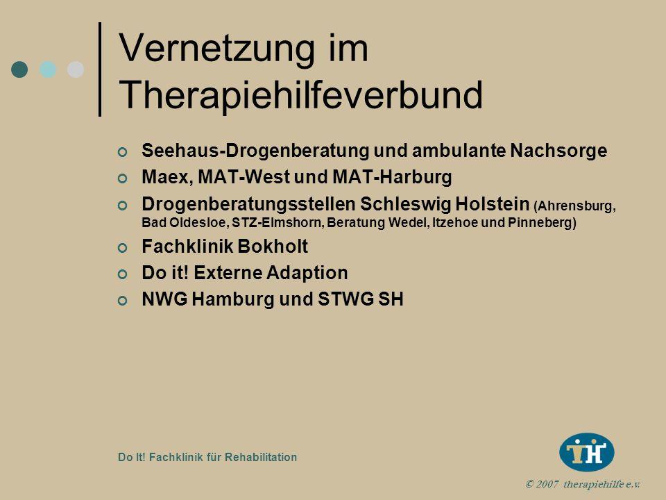 © 2007 therapiehilfe e.v. Do It! Fachklinik für Rehabilitation Aufnahmevoraussetzungen Keine Warteliste Zügige Aufnahme tägl. nach Absprache Direkt au