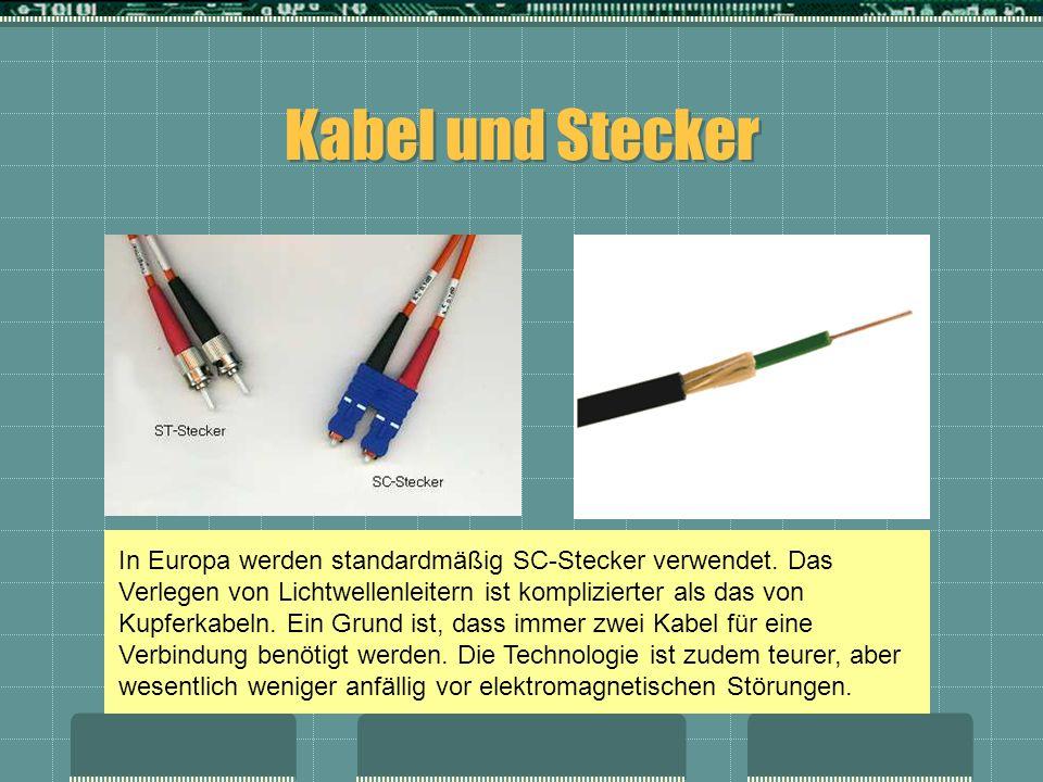 Kabel und Stecker In Europa werden standardmäßig SC-Stecker verwendet. Das Verlegen von Lichtwellenleitern ist komplizierter als das von Kupferkabeln.