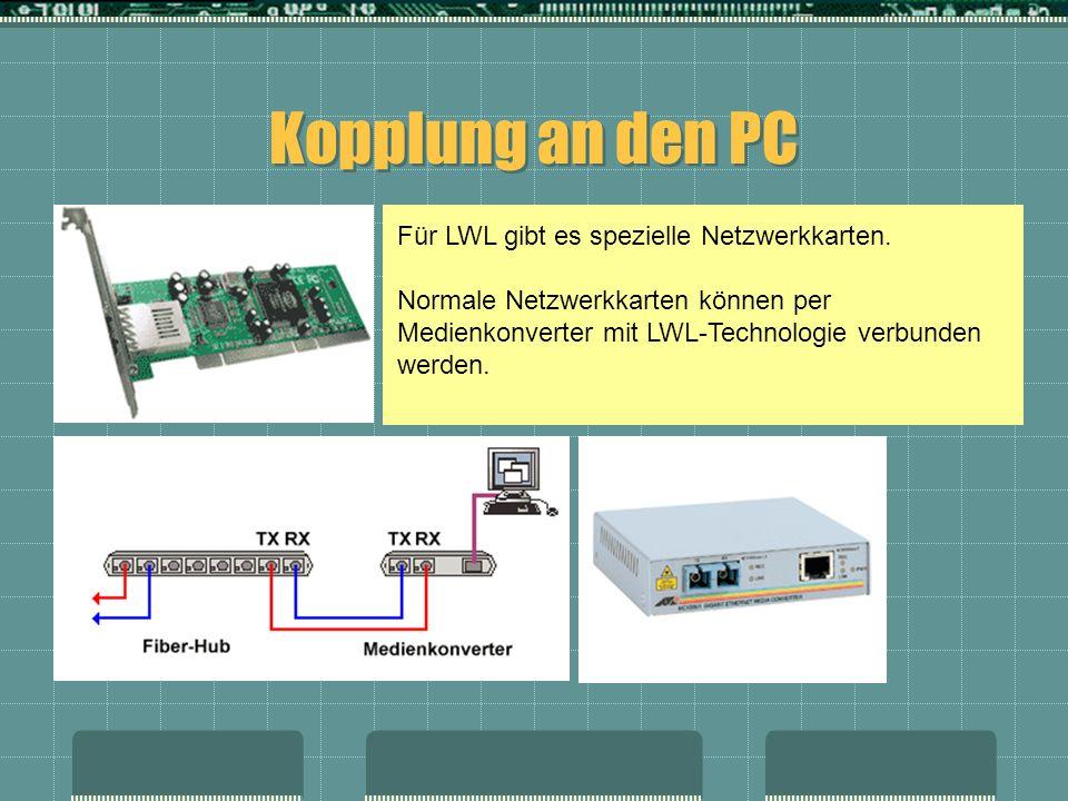 Kopplung an den PC Für LWL gibt es spezielle Netzwerkkarten. Normale Netzwerkkarten können per Medienkonverter mit LWL-Technologie verbunden werden.