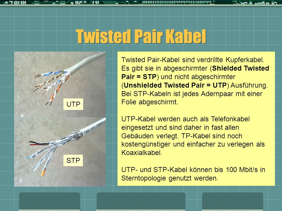 Twisted Pair Kabel Twisted Pair-Kabel sind verdrillte Kupferkabel. Es gibt sie in abgeschirmter (Shielded Twisted Pair = STP) und nicht abgeschirmter