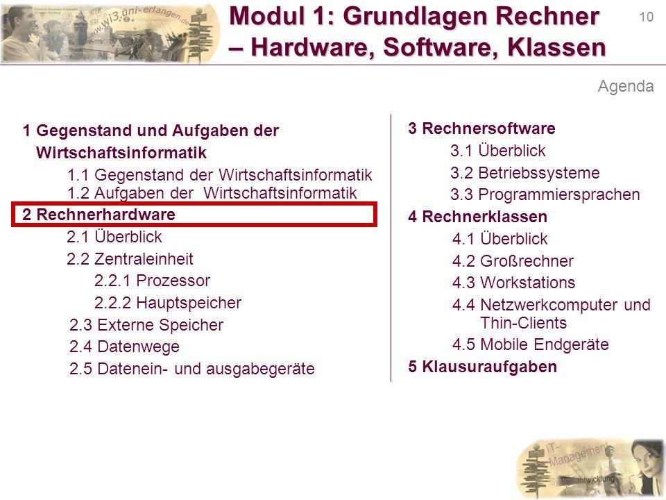 10 Modul 1: Grundlagen Rechner – Hardware, Software, Klassen 1 Gegenstand und Aufgaben der Wirtschaftsinformatik 1.1 Gegenstand der Wirtschaftsinforma