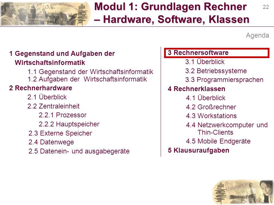22 Modul 1: Grundlagen Rechner – Hardware, Software, Klassen 1 Gegenstand und Aufgaben der Wirtschaftsinformatik 1.1 Gegenstand der Wirtschaftsinforma