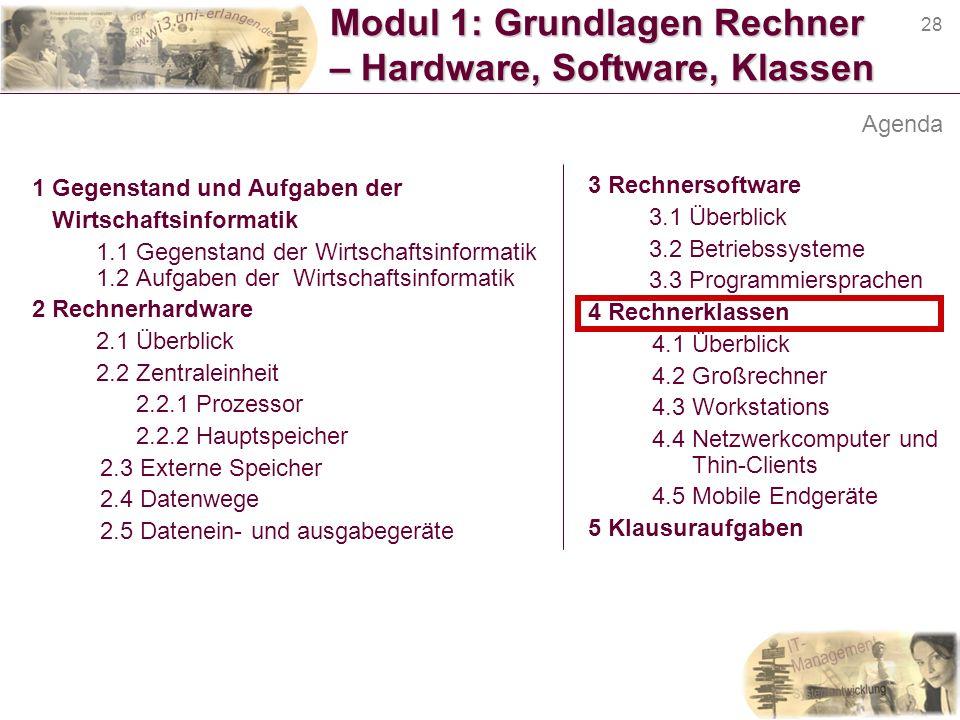 28 Modul 1: Grundlagen Rechner – Hardware, Software, Klassen 1 Gegenstand und Aufgaben der Wirtschaftsinformatik 1.1 Gegenstand der Wirtschaftsinforma