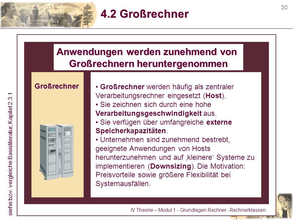 30 4.2 Großrechner Großrechner Großrechner werden häufig als zentraler Verarbeitungsrechner eingesetzt (Host). Sie zeichnen sich durch eine hohe Verar