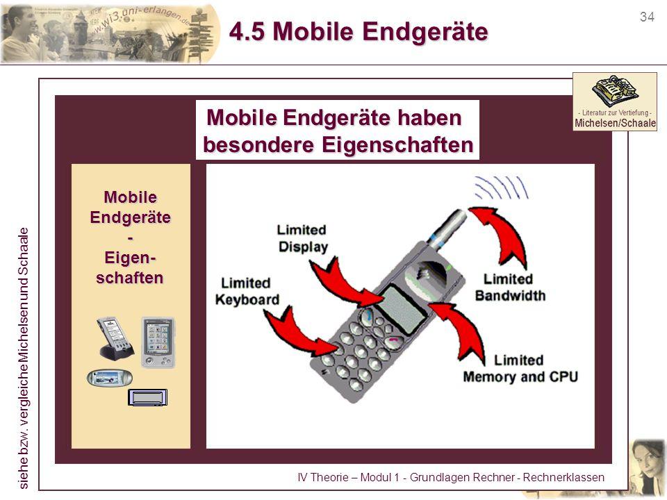 34 4.5 Mobile Endgeräte Mobile Endgeräte haben besondere Eigenschaften MobileEndgeräte-Eigen-schaften siehe bzw. vergleiche Michelsen und Schaale IV T