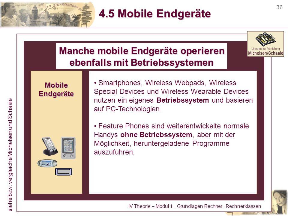 36 4.5 Mobile Endgeräte Manche mobile Endgeräte operieren ebenfalls mit Betriebssystemen Smartphones, Wireless Webpads, Wireless Special Devices und W