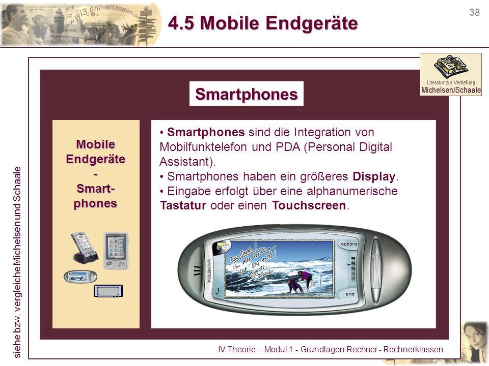 38 4.5 Mobile Endgeräte Smartphones Smartphones sind die Integration von Mobilfunktelefon und PDA (Personal Digital Assistant). Smartphones haben ein