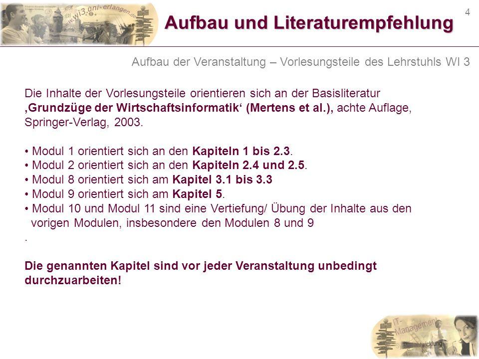 4 Aufbau und Literaturempfehlung Die Inhalte der Vorlesungsteile orientieren sich an der Basisliteratur Grundzüge der Wirtschaftsinformatik (Mertens e