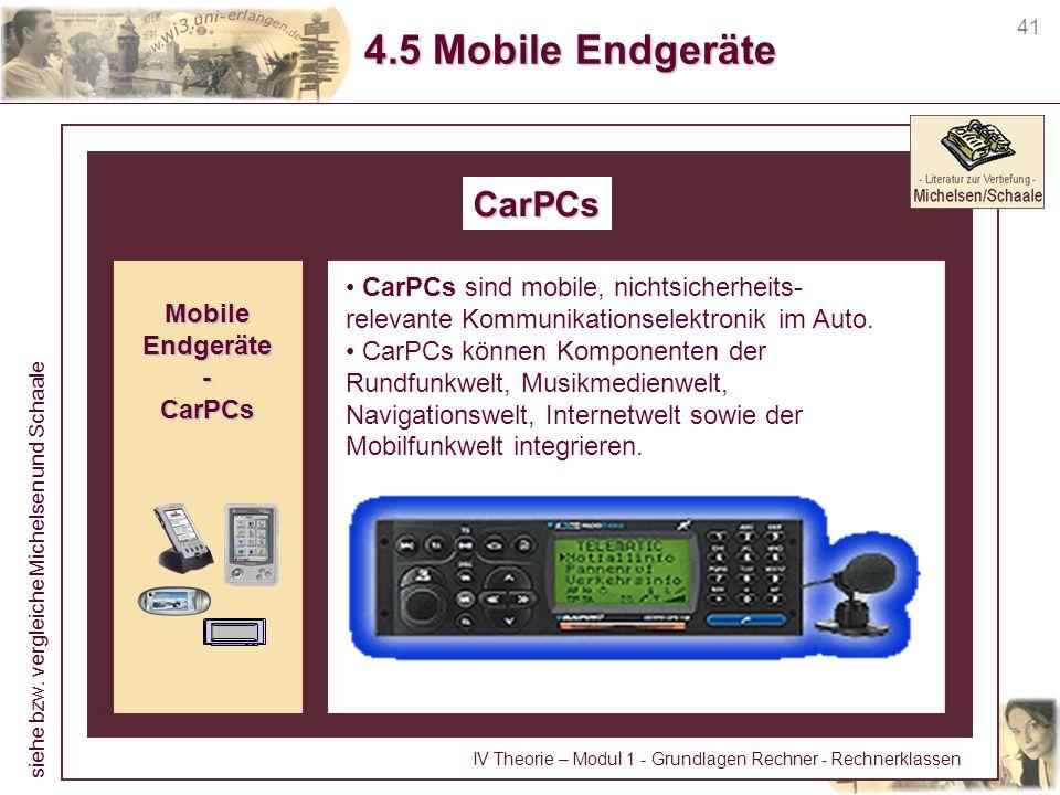 41 4.5 Mobile Endgeräte CarPCs CarPCs sind mobile, nichtsicherheits- relevante Kommunikationselektronik im Auto. CarPCs können Komponenten der Rundfun