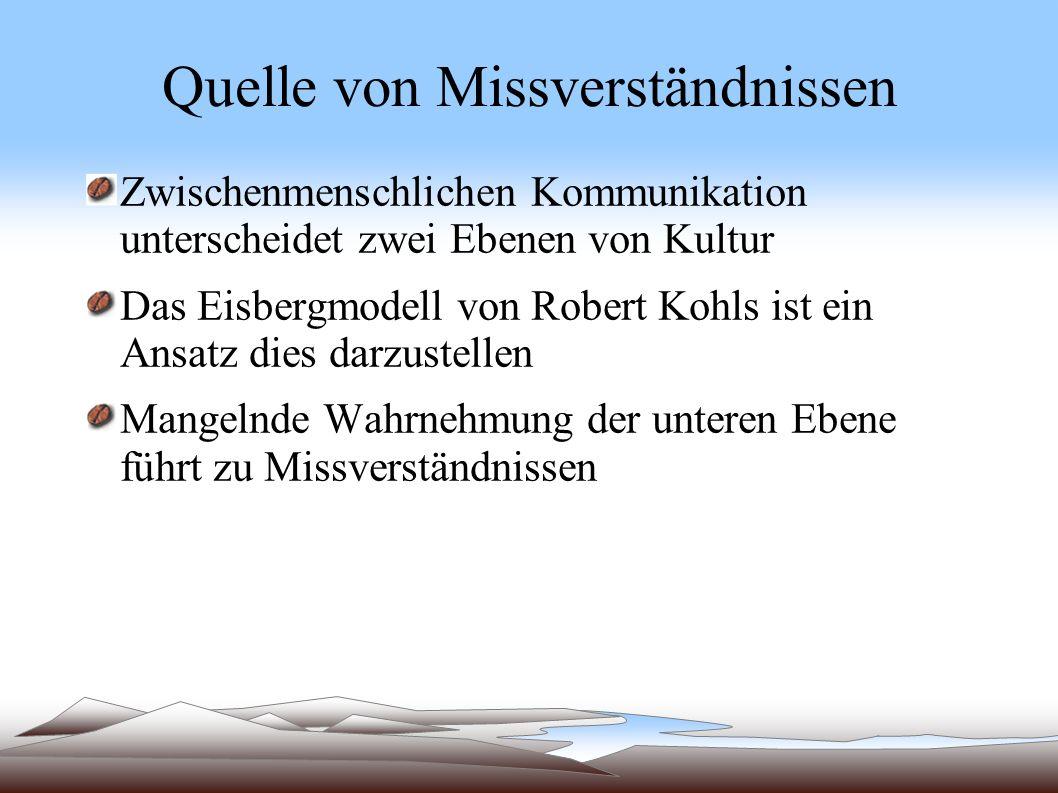 Quelle von Missverständnissen Zwischenmenschlichen Kommunikation unterscheidet zwei Ebenen von Kultur Das Eisbergmodell von Robert Kohls ist ein Ansat