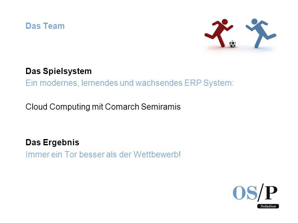 Das Team Das Spielsystem Ein modernes, lernendes und wachsendes ERP System: Cloud Computing mit Comarch Semiramis Das Ergebnis Immer ein Tor besser al